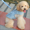 保羅叔叔寵物生活館 『嘟貝貝』- 寵物牽引繩配胸背 牛仔系列 寵物狗狗貓咪牽引繩 柔軟不傷脖 小型犬/中型犬用