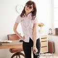 【EE-LADY】雙排壓摺短袖襯衫-粉