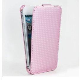 Dapad APPLE iPhone5/ 5S 卡夢紋上下掀皮套-粉色 【破盤出清】=分期零利率免運費=
