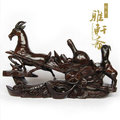 V雅軒齋 越南紅木工藝品 生日禮物 雙羊送財 木雕家居風水擺件