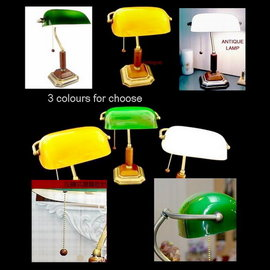《展示品》歐式復古新古典銀行燈 (翡翠綠/琥珀黃/純淨白)