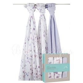 美國Aden Anais 有機棉包巾 三入裝  粉紫童話款9120