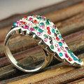 33106 日韓版熱賣 潮女必備 超級爆款時尚個性 彩色鑽 翅膀 戒指
