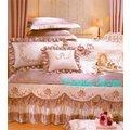 ==YvH==V73 米金色 Lace 蕾絲浪漫玫瑰絲緞刺繡 6x6.2尺加大鋪棉床罩8件組 歐式床裙