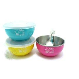 《3557》三光寶石牌香醇不銹鋼兒童碗組【隔熱碗+蓋子+兒童湯匙】Y-205S內層湯匙皆㊣304不鏽鋼 湯碗 外出兒童餐具組