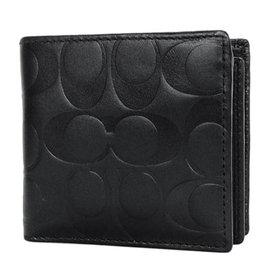 COACH 74904 黑色壓印C Logo全皮內加摺零錢袋短夾
