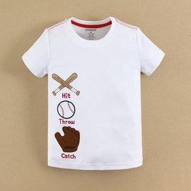 【媽咪 & baby】 夏 mom and bab棒球短袖上衣/ T恤-白色款(12m.18m.24m.3T- 6T)