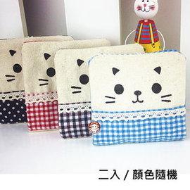 ~易奇寶~可愛微笑貓咪衛生棉收納袋二入 面紙收納袋