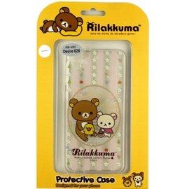 Rilakkuma 拉拉熊 懶懶熊 HTC Desire 626  D626x  彩繪透明保護軟套~花草優雅熊