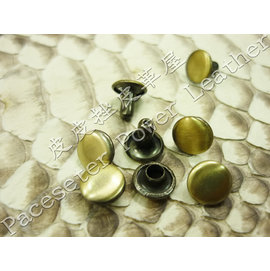 鐵質雙面固定釦8mm(古銅拋光) 603-22074 〔買5送1〕 皮皮挫皮革屋 皮件 拼布 手工 DIY 文創 工藝