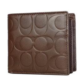 COACH 74904 駝色壓印C Logo全皮內加摺零錢袋短夾 (現貨+預購)