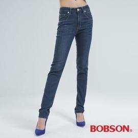~BOBSON~女款鑽飾刺繡小直筒褲 中藍8045~52