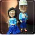 傳統服裝公仔-藍色和服爺爺奶奶公仔娃娃【15公分】固定版
