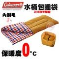 探險家戶外用品㊣CM-26647 美國Coleman 0度紅格紋 水桶包睡袋 內刷毛睡袋可機洗可雙拼 化纖睡袋露營寢袋