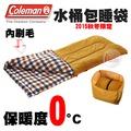 探險家戶外用品㊣CM-26648 美國Coleman 0度棕格紋 水桶包睡袋 內刷毛睡袋可機洗可雙拼 化纖睡袋露營寢袋