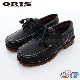 ~哈鞋網~ORIS 男款 紳士品味 獨特繫帶裝飾 雷根式帆船鞋 934A01~734A01 黑色