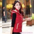 【CHACO CHACO】韓系 休閒百搭撞色3D修身羽絨棉連帽保暖背心(3色)