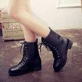 中筒靴-復古內刷毛繫帶粗跟中筒靴-單1色-M102-集子時尚