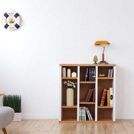 《Accessco》日系雙色九格厚板收納書櫃[原木白]
