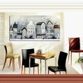 黑白照片 簡歐式建筑現代家居裝飾畫�椈懇e掛畫 無框畫餐廳單聯畫