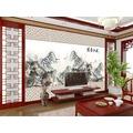 酒店茶樓大廳屏風�棬�客廳電視背景�暀j型壁畫3D立體席編紋紙國畫