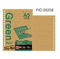 《Green Style》A5-26孔-牛皮橫線活頁內紙 活頁紙 70磅 牛皮紙 單本80入 PIC-20258