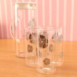 Artist精選 安琪冷熱兩用耐熱玻璃水杯組 (水壺1200ml+水杯350ml*4)(MF0363)