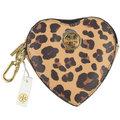 【全新現貨 活動價】Tory Burch 經典LOGO豹紋皮革心型鑰匙零錢包.深咖現金價$1,680