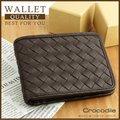 《熊熊先生》75折推薦 Crocodile 鱷魚 Knitting系列 義大利進口牛皮 編織設計 男用皮夾短夾 高質感真皮0103-60042