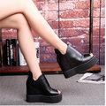 【ALicE】(預購) Y1054-9 下架-韓風內增高厚底魚口鞋-黑