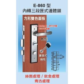 COE內轉三段匣式防盜門鎖-E860圓形雙色面板