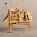 竹木工藝品風車 農用工具模型 子孫桶 時來運轉 仿真辦公桌擺件木質獨輪車