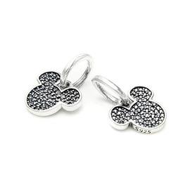 潘多拉風格 925純銀 鑲石黑色頭銀吊墜銀珠DIY銀珠Beads