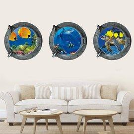 BO雜貨~YV0023~海底世界 3D立體 潛水艇船窗 居家裝潢佈置 壁貼