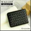 『旅遊日誌』Crocodile 鱷魚 75折 Knitting系列 高質感真皮 短夾 皮夾 6卡 義大利進口牛皮 0103-60041