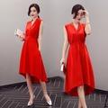 紅色M2016夏季新款女裝 韓版顯瘦中長款連衣裙時尚名媛V領廓形紅色裙子