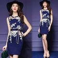 【韓國KW-歐美風】KBN2091-5 典雅繡花綁帶無袖連身裙-藍