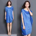 【韓國KW】KBN1454-5 歐美時尚皺褶圓領無袖連身裙-藍
