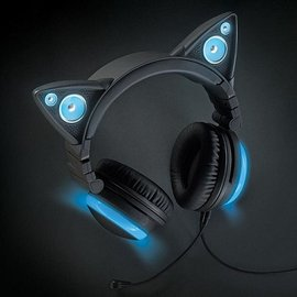 Brookstone 貓耳造型頭戴式耳機-藍