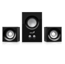 Genius SW-2.1 375 音色驚豔三件式木質音箱 | 強勁的低音 (黑色)