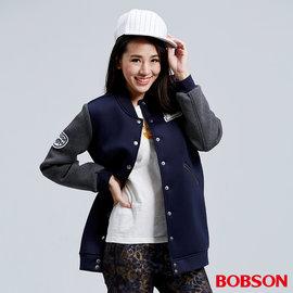 ~BOBSON~女款太空布長版棒球外套 藍36106~53