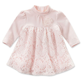 Dave Bella 立領蕾絲拼接長袖洋裝 - 粉紅花朵 DB3971