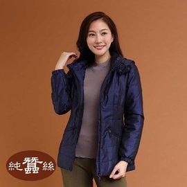 岱妮蠶絲 - 短版緹花絲絨夾克外套(深藍/9R)
