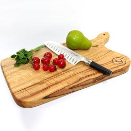 鋒利刀尖天然抗菌樟木方型L餐盤砧板+刀具組