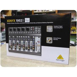 ♪♪學友樂器音響♪♪ 耳朵牌 Behringer XENYX 1002B 可電池供電10軌混音器