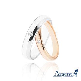 【ARGENT安爵銀飾】原創-情人對戒系列「經典(白K金4mm+玫瑰金3mm)」純銀戒指(一對價)