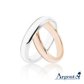 【ARGENT安爵銀飾】原創-情人對戒系列「素雅(白K金4mm+玫瑰金3mm)」純銀戒指(一對價)