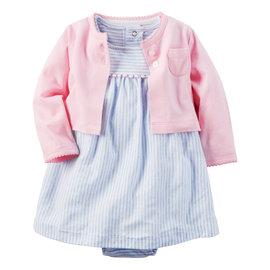 ~美國Carter s~套裝2件組~氣質條紋包屁式洋裝 純棉小外套 #121H129