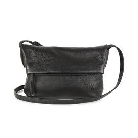 MARKBERG Cari 丹麥手工牛皮時尚反折肩揹包 斜背包/ 側揹包(極簡黑)