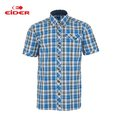 [EiDER] 男排汗透氣抗UV短袖襯衫 - 藍格 (6EIV3073-7136)